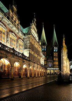 Bremen City Hall and Cathedral at night, Germany
