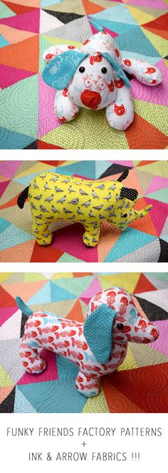 We love this cute stuffed animal patterns from the Funky Friends Factory! On top is the Puppy Dog Pete pattern in our The Cat's Meow fabrics. Next is Randy Rhino in our City Life collection. Last, but not least, is Dixie Dachshund pattern in our The Cat's Meow! Head to Funky Friends Factory to find these patterns! http://www.funkyfriendsfactory.com/