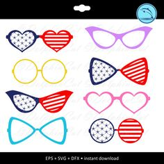 Glasses Silhouettes American Flag, silhouette for cutting, scrapbooking Glasses svg, Glasses dxf, Glasses eps vector printable files by DolphinCut on Etsy