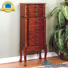 Powell Classic Cherry Jewelry Armoire Storage Cabinet Chest Furniture.  $233.00