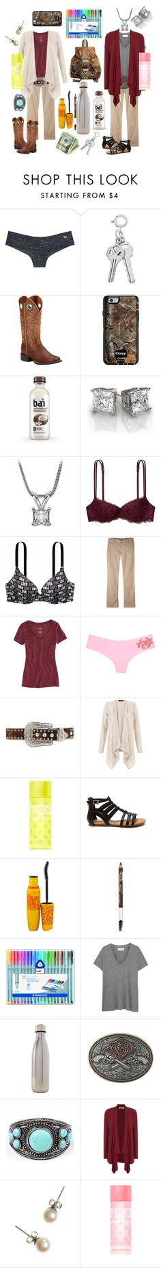 """""""Dressy school outfits"""" by pistols-n-pearls ❤ liked on Polyvore featuring Victoria's Secret PINK, Ariat, Mountain Khakis, American Eagle Outfitters, Nocona, Victoria's Secret, Maybelline, The Great, S'well and Brakeburn"""