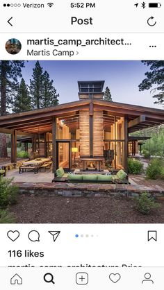 I like the big roof overhang. Cabins In The Woods, House In The Woods, Cabin Homes, Log Homes, Cabin Plans, House Plans, Plan Chalet, Mountain Homes, Roof Overhang