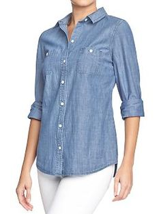 This classic chambray shirt fits beautifully- slightly nipped in at the waist and really soft...
