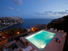 Luxurious villa in Port Andratx with stunning a view from the pool.