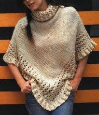 Poncho de lana con calado innatia