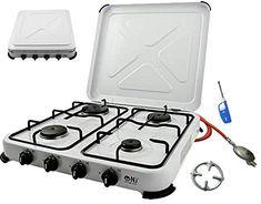 Réchaud à gaz 4brûleurs portable en émail blanc avec couvercle pour camping extérieur GPL 545kW Portable, Nintendo Consoles, Barbecue, Stove, Kitchen Appliances, Gas Stove, Bonfires, White People, Cooking Tools