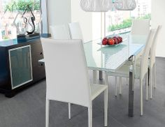 JASMINE 240cm extendable dining table $699 Dining extension table with tempered milk glass top and chromed metal frame.  FEATURES Width when closed: 120cm (47in) Seats 6-8 guests REFERENCE 74.39.10.10 COLOUR White DIMENSIONS W240cm D88cm H75cm  (W94.5in D34.5in H29.5in)