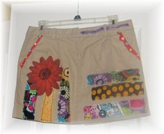 SALE ** Size 4 Girls / Womens / Funky Khaki Skirt with appliques / Hip / Artsy / Fun / Upcycled / Altered Clothing/ Extra Small