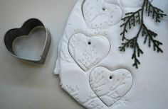 Salt dough ornaments with a natural impression -- use a rolling pin and leaves, etc., on clay (or salt dough) Christmas Ornaments To Make, Noel Christmas, Homemade Christmas, Winter Christmas, Holiday Crafts, Christmas Decorations, Country Christmas, Natural Christmas, Thanksgiving Crafts