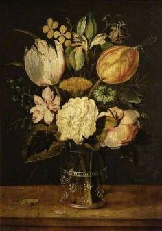 Flowers in a Glass Vase, attributed to Alexander Adriaenssen (Flemish, 1587-1661)
