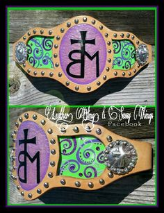 Hand painted,  custom,  leather bronc noseband for horse halter. . ♥