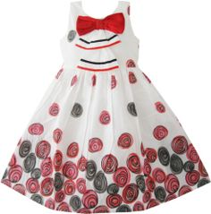 Girls Dress Dot White Bow Party Christmas Birthday Kids Clothes Size 2-10 New