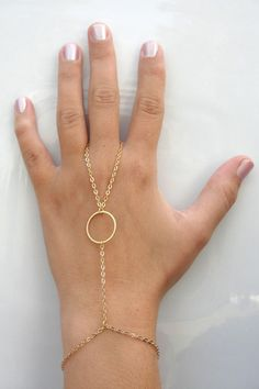 Gold Slave Bracelet ring connected to bracelet Hand by AlinMay, $18.99