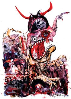Ralph Steadman has a distinctive style of using Indian Ink in his artworks and creating something different with each drip that comes off from his brush. I too, enjoy drawing messy artworks when it comes to paint or ink and either adding or mixing other materials and Ralph Steadman's Illustrations are very inspiring in terms of being creative and using your imagination with a splash of a ink on the page.