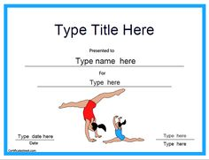 Sports Certificate - Gymnastic Template |  CertificateStreet.com