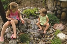 Mini Cascading Falls: Child Safe Design - Pond-Less water features are ideal for homeowners who want the sight and sounds of a waterfall but need the safety of a non-open body of water.  Imagine: Science Projects, Art, Biology and just plain enjoyment of a living landscape element.