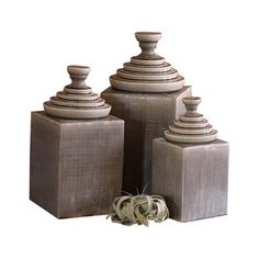 You'll appreciate the tasteful ambience of these lovely Castle Glen Ceramic Canisters. Gorgeous grey pottery is textured and glazed to give off a regal elegance. Their squared shape looks fabulous agai...  Find the Castle Glen Ceramic Canisters - Set of 3, as seen in the Tabletop Collection at http://dotandbo.com/category/kitchen-and-dining/tabletop?utm_source=pinterest&utm_medium=organic&db_sku=101209