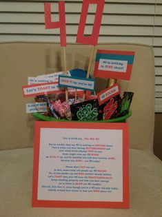 40th birthday party gift basket. Diy. So easy to put together and a ton of laughs.