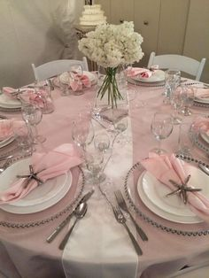 Blush Pink, White, Silver Wedding Table at Big Top Tent Rentals