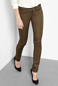 Khaki Metallic The Skinny Jeans by 7 For All Mankind