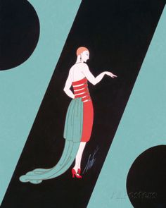 Evening Dresses and Curtains I Giclee Print by Erté at AllPosters.com