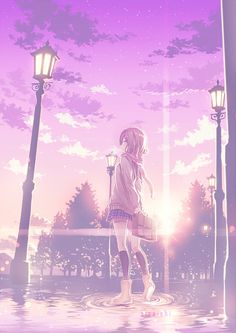 ✮ ANIME ART ✮ anime scenery. . .school girl. . .school uniform. . .school bag. . .walking. . .city street. . .water. . .puddles. . .surreal. . .street lamp. . .sunset. . .sky. . .stars. . .clouds. . .beautiful. . .amazing detail. . .kawaii