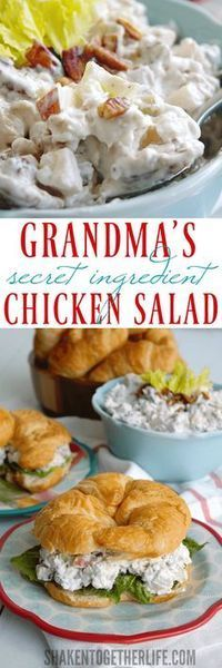 My Grandma's Secret Ingredient Chicken Salad recipe is one of her most requested! This easy elegant chicken salad is perfect for lunch, brunch, showers and potlucks! Secret Ingredient Chicken Salad Linda Clausen HiLindaCClausen Salad Recipes My Gra Meat Salad, Soup And Salad, Pasta Salad, Spaghetti Salad, Vegetarian Salad, Bulgur Salad, Beste Burger, Cooking Recipes, Healthy Recipes