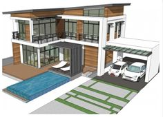 Home design plan with 4 bedrooms. Two-story house Modern Contemporary style Lay out the building layout So that every room can ventilate well. 4 Bedroom House Plans, One Bedroom, Building Layout, Pantry Design, Two Story Homes, Architectural Design House Plans, Concept Architecture, Story House, Modern Family