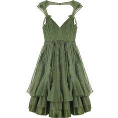 talk&play; LOVE ($300) ❤ liked on Polyvore featuring dresses, vestidos, green, zac posen, green dress and zac posen dresses