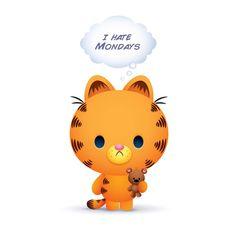 Garfield designed by Jerrod Maruyama. Cartoon Memes, Cute Cartoon, Cartoon Characters, Cool Cartoons, Disney Cartoons, Pretty Art, Cute Art, I Hate Mondays, Shrink Art