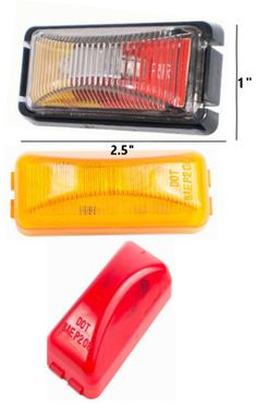 "2.5"" x 1"" Side Marker and Clearance Rectangle LED Light  Rectangle Style Side Marker and Clearance light. Available in Red, Amber, or Clear. Lens is poly carb material, giving it extra durability. Ideal for cars, buses, tow trucks, work vehicles, big rigs, transportation vehicles, public work vehicles, government work vehicles, or anything else in need of this style of light. Operates on 10-30 volts."