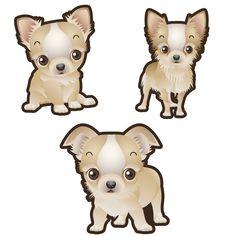 Chihuahua Dog Set of 3 Decals - 8 / Vinyl - Permanent Adhesive