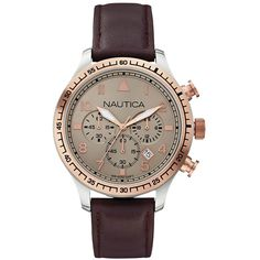 A blend of sophisticated details makes this watch a standout, from the rose gold top ring to the soft leather band. Scroll to bottom to see full product deta. Sport Watches, Watches For Men, Wrist Watches, Hats For Men, Michael Kors Watch, Chronograph, Mens Fashion, Brown Leather, Coupon
