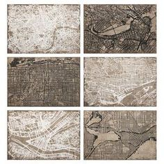 """Showcasing a city map motif, this wrought iron wall decor brings worldly appeal to your entryway or living room.  Product: Set of 6 wall decorConstruction Material: Wrought iron and paperFeatures: City map motifDimensions: 14.25"""" H x 22.25"""" W each"""