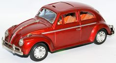 Vintage 60's Tin Friction VW Volkswagen Beetle Bug with Retractable Sunroof, Japan