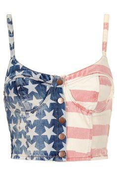 MOTO Flag Print Denim Bralet - Railroad - Clothing - Topshop USA