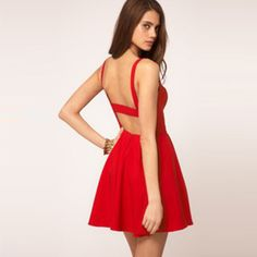 Sexy Backless Solid Color Sling Dress