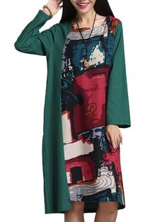 Women Patchwork Long Sleeve Printed Loose Cotton Vintage Dress