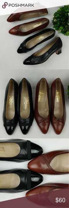 "Salvatore Ferragamo leather heel pumps bundle Salvatore Ferragamo leather heel pumps bundle. Made in Italy. Black leather pair with patent leather toe.  Brown leather pair with embossed animal print trim. Heel height: 1 3/4"" Size 7.5 B Both pairs are in good gently used condition. There are little scuffs on both of the pairs. Not very noticable. Some leather polish can probably fix it. Salvatore Ferragamo Shoes Heels"