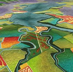 Fields of Salt map art quilt by LInda Gass. Although the landscape in this artwork may look like farm fields, it is actually salt ponds used for industrial salt production. These ponds used to be essential wetlands of San Francisco Bay. Anni Downs, Map Quilt, Quilt Art, Landscape Arquitecture, Landscape Art Quilts, Landscape Paintings, Collage Landscape, Art Carte, Creation Art