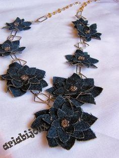 DENIM FLOWERS - handmade artisan  fiber, textile, fabric jewelry