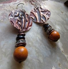 Jump into the Fire - Earrings of Textured Copper Discs, Orange Howlite, Blue Goldstone and Rhinestones by Chilirose on Etsy