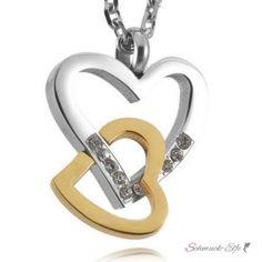 Herz Anhänger Silber Gelbgold  Zirkonia inkl. Kette im Etui