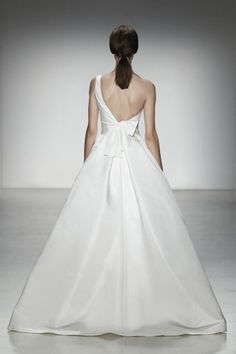 "Amsale spring 2014 ""Newport"" back. Faille de soie one shoulder ballgown with pleated skirt."