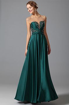 Gorgeous Beaded Bodice Green Evening Dress Formal Gown (00152304)