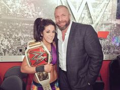 Triple H and the new WWE RAW Woman's Champion Bayley #WWE