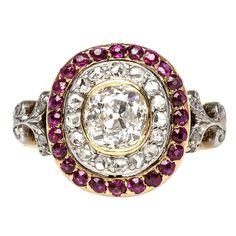 French Diamond & Ruby Edwardian Engagement Ring | From a unique collection of vintage engagement rings at http://www.1stdibs.com/jewelry/rings/engagement-rings/