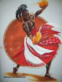 Shango/Xangô, Lord of lightning and fire, Orisha of music and dance. By Claudia Krindges, Brazil Black Girl Art, Black Art, Shango Orisha, Orishas Yoruba, Yoruba People, African Goddess, Traditional Stories, Butterfly Cross Stitch, Spirited Art
