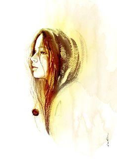 Hunger games Katniss - Watercolor female portrait art print. $18.00, via Etsy.