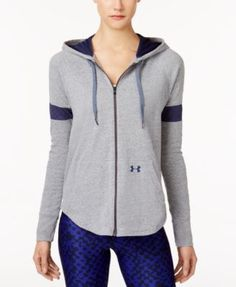 Under Armour Sportstyle Zip Hoodie In Charcoal/midnight Navy Zip Hoodie, Grey Hoodie, Under Armour, Hooded Jacket, Active Wear, Charcoal, Navy, Clothes For Women, Hoodies